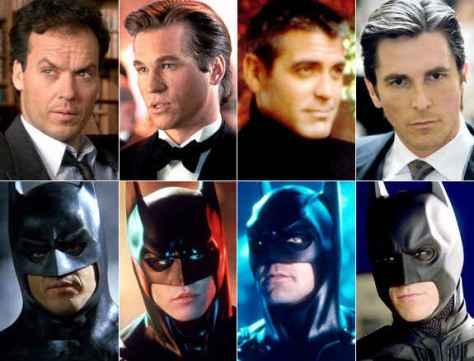 Da esquerda para direita: Keaton, Kilmer, Clooney e Bale.