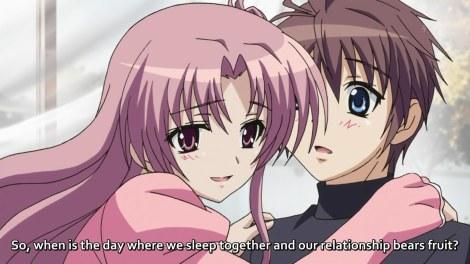 A Mãe da Miu (Amaha Yuiko) e um dos poucos momentos engraçados do anime -- Poooxa nem sei de quem gosto mais, se da mãe ou da filha, rs (Trad:Então quando é o dia que vamos dormir juntos e nosso relacionamento terá fruto?)