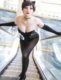 Nadyasonika Cosplay Harley Quinn and Jennifer Van Damsel cosplay Catwoman (Bunnysuit version) 7
