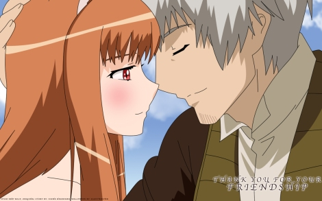 spice craft_lawrence gray_hair horo long_hair orange_hair red_eyes short