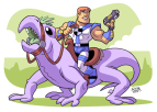 man_with_a_gun_riding_a_lizard_by_bezerrobizarro-d4zvptr