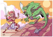 warrior_woman_vs_lizard_man_by_bezerrobizarro-d3frd83