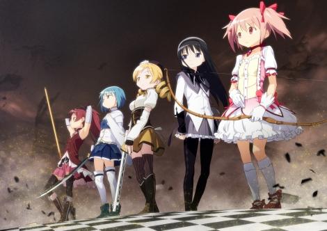 akemi_homura-bow-kaname_madoka-mahou_shoujo_madoka_magica-miki_sayaka-pink_hair-sakura_kyouko-sword-thighhighs-tomoe_mami-twintails-weapon