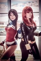 Cosplay plu-moon viúva negra sexy black widow e LadyLemon cosplay Wonder Woman