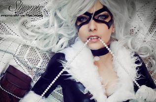 shermie cosplay gata negra black cat gata sexy