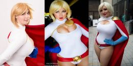 power girl cosplay peitos wall