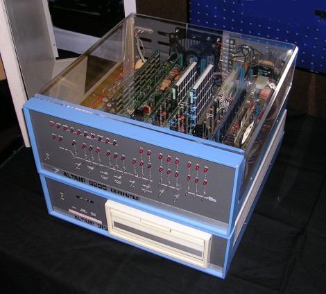 Altair 8800 Computer with 8 inch floppy disk system. Circa 1975. Photo taken at the Vintage Computer Festival 7.0 held at the Computer History Museum. November 2004. Altair system owned Erik Klein Photo by Michael Holley