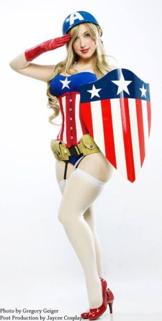 Cosplay Jaycee pin up captain america gata sexy capitão america (8)