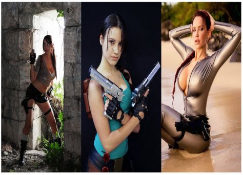 cosplay lara croft wall