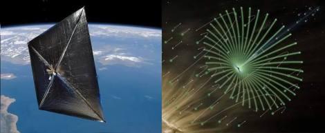 Esquerda vela solar (de fótons) Direita temos uma Vela Elétrica