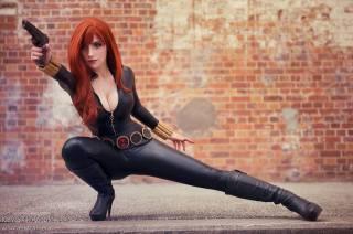 Katyuska MoonFox black widow cosplay viuva negra gata sexy