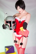 kitty honey cosplay mamãe noel sexy santa bobba fett christmas