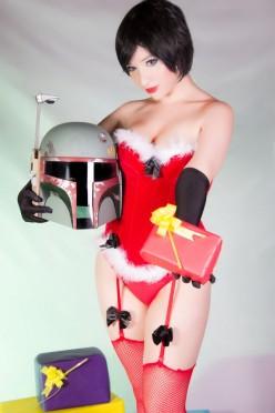 kitty honey cosplay mamãe noel sexy santa bobba fett christmas