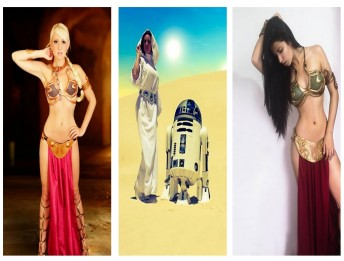 princess slave leia cosplay wall
