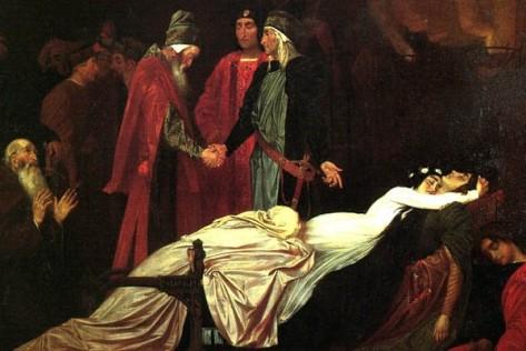 """Cena de Romeu e Julieta no seu Reencontro Trágico -- clássico do """"Ultra-Romantismo"""""""