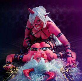 cosplay sexy demon Kneesocks panty stocking Vivian vee sexy big tits Gil Hellsing Scanty cosplay