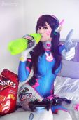 D.Va sexy cosplay gostosa Cosplay Adami Langley Overwatch