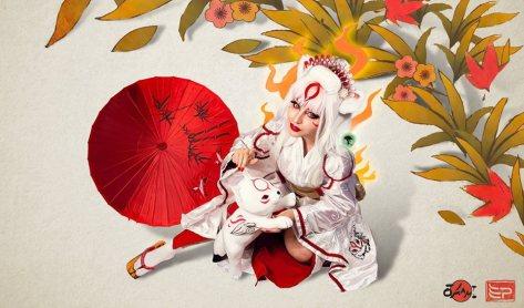 Jaqueline Abrão cosplay Okami Deusa Amaterasu sexy gata